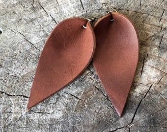 Brown Leather Earrings, Leather Leaf Earrings, Brown, Inspired By Joanna Gaines Jewelry
