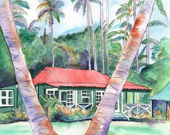 Kauai art prints,  Plantation Cottage art, Kauai giclees, Old plantation houses, Waimea Plantation Cottages, tropical houses, Hawaiian art
