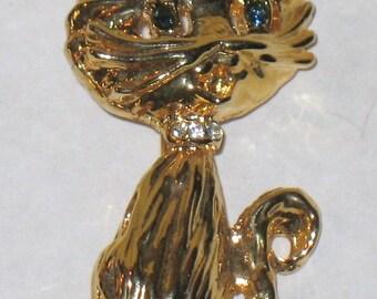 vintage gold cat pin