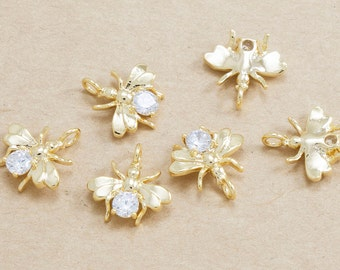 Cubic Bee Pendant, Jewelry Craft Supplies, Polished Gold Plated over Brass - 2 Pieces-[JP0002]-PG