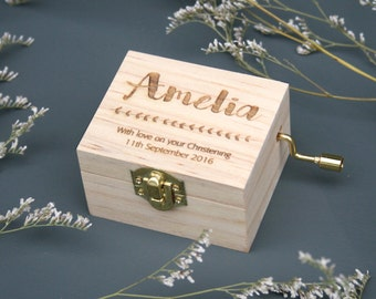 Personalised Music Box | Pine Laser Cut |  New Baby Gift Or Christening / Naming Day Gift | You Are My Sunshine | Worldwide Shipping