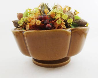 Vintage Haeger Planter Mid Century Footed Scallop Succulents Edge Brown Glazed Ceramic 60s 70s Pottery