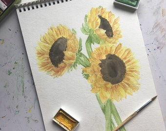 Sunflowers Original Watercolor