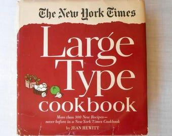 The New York Times Large Type Cookbook 1968 by Jean Hewitt / 300 Plus Recipes / Large Font Easy To Read / Newspaper Recipe Cookbook