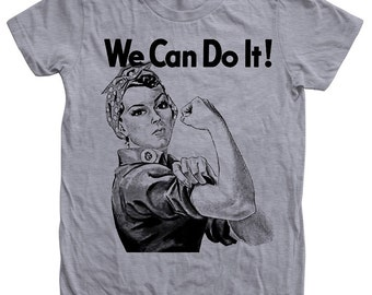 Women's T-shirt, Rosie the Riveter Tshirt, We Can Do it  Shirt, Screen Print, Graphic Tee, American Apparel Crew Neck Tshirt, Gift for Women
