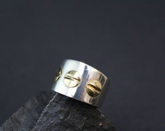 Sterling Silver and 18k Yellow Gold Wide Flat Screw Band Ring, Industrial Sterling Ring, Sterling Screw Ring, Industrial Jewelry
