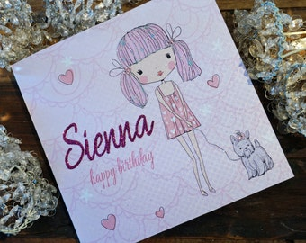 Personalised Birthday Card - Milly's World Pink Design P16-80