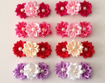Cute Flower Hair Clips ~ 2 each Choice in color