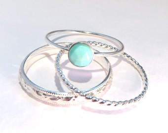 Turquoise Rings, Stacking ring, Boho stacking rings, silver stacking rings, December ring, birthstone ring, silver rings, silver stack