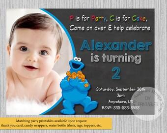 PRINTED or Digital Cookie Monster Birthday Invitations, Chalkboard Cookie Monster Party Supplies, Sesame Street Printable Invitations