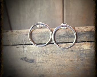 Open Circles Silver Post Earrings, Valentine's Gift Jewelry, Sterling Studs Boho Jewelry Post Earrings, Dainty Earrings, Minimalist Earrings