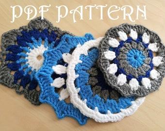 Crochet Blue Doily Coasters Ocean Breeze