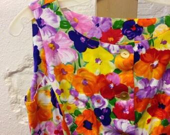 Floral Cotton Dress 1960s Flowers Dash About