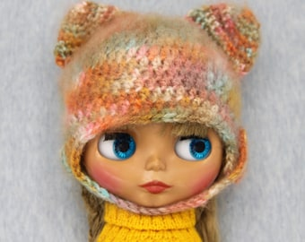Blythe fluffy bear hat / helmet stonewashed orange