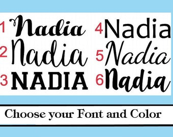 Personalized Name or Word -Vinyl Iron On Choose your Color- Glitter or Matte