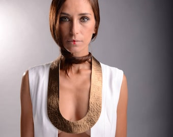 Gold Leather Bib Necklace, Leather Jewelry, Statement Jewelry, Unique Necklace, Leather Bib Necklace, Modern Necklace, Gold Necklace,