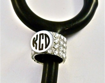 Stethoscope ID tag bling ring-cuff, Stethoscope ID ring,Stethoscope monogram ID ring cuff, Rhinestone ring-cuff, Nurse,Doctor,Veterinarian,