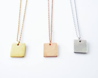 Square necklace etsy more colors 530 personalized square plate necklacesquare pendant aloadofball Choice Image