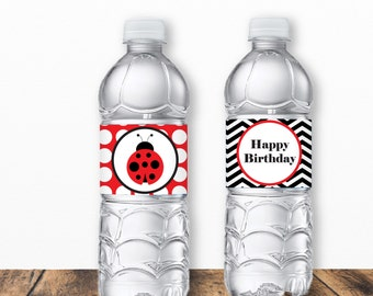 Ladybug Water Bottle Labels, Ladybug Birthday Party, Birthday Party Printables, Decor, water bottle wrapper, ladybug party, girl bug party