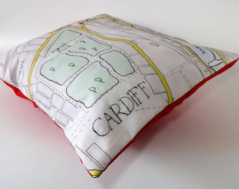 Cardiff, South Wales, Roath Park, Heath and Pen Y Lan Map, Printed and Embroidered Cushion Cover with Red Backing Fabric 40 x 40cm