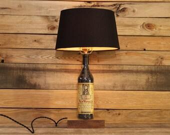 Old Rip Van Winkle Bourbon Bottle Table Lamp / Whiskey Gift Bourbon Barrel Char, Reclaimed Wood Base, Bourbon Bottle Desk Lamp, Whiskey Lamp
