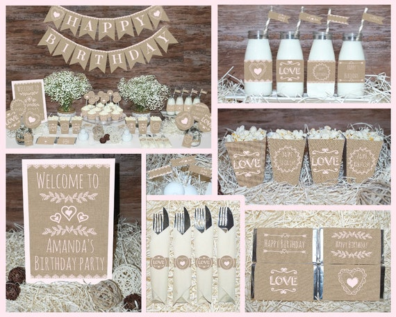 Rustic Birthday decorations printable First birthday party