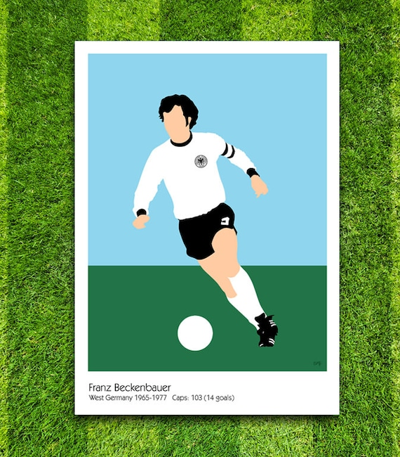 Franz Beckenbauer // West Germany // Football // Soccer // Minimalist Poster // Unique Art Print