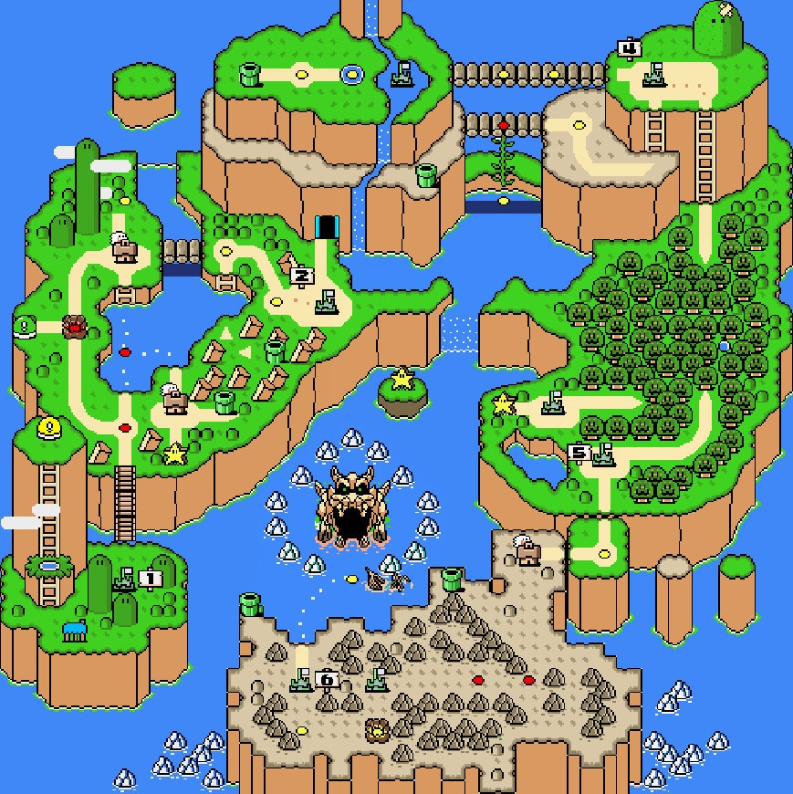 Super mario world map cross stitch pattern overworld retro zoom gumiabroncs Choice Image