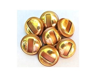 6 Vintage plastic buttons light brown with gold color 20mm