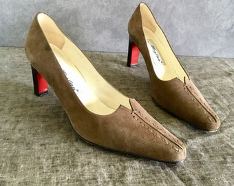 Vintage Olive Brown Suede Heels / Embroidered Pointed Toe Heels / Women's 8M