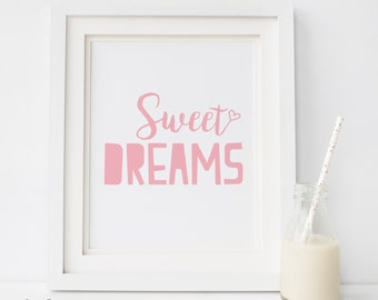SALE Baby girl art, girl nursery decor, baby girl wall art baby girl decor, girl nursery print girl nursery art SWEET DREAMS Rules Sign pink