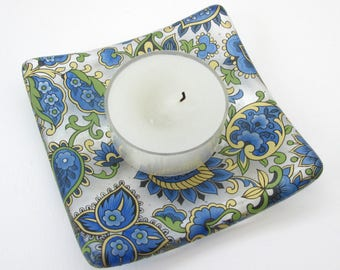 Paisley tealight holder, blue gold square glass dish, shallow glass bowl, blue candle dish, small soap dish, change tray, jewelry tray