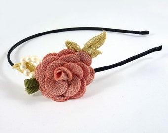 Greenhouse head/headband Camellia - old pink