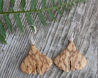 Small Ginkgo earrings, Itty Bitty Dangle earrings, Ginkgo leaf Jewelry, Ginkgo earrings, Nature lover gift, Wooden earrings, herbalist gift