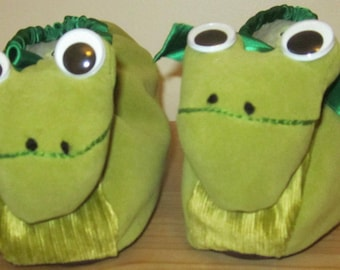 Green Frog Slippers Made to Measure Mums Gift Made to Order Collector's Gift Present for Mom Gift for Sister Gift for Wife Dad Fun Present.