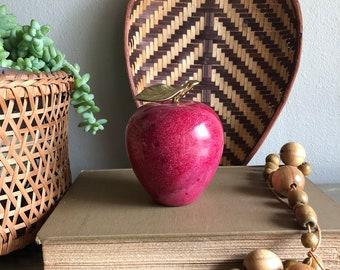 vintage marble apple brass leaf claret red paperweight