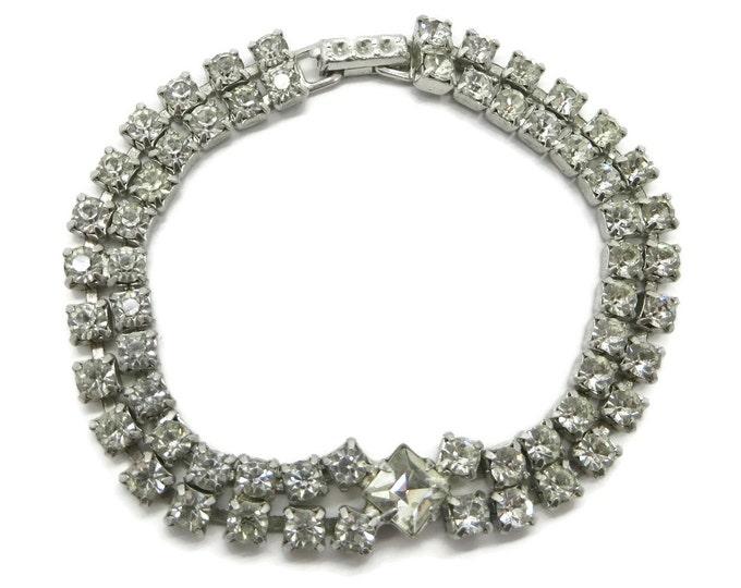 Kramer Tennis Bracelet, Vintage Rhinestone Bracelet, Double Row Stone Bracelet, Bridal Jewelry