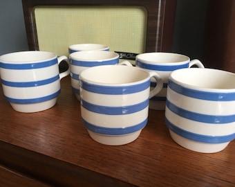 Vintage Carrigaline Blue and White Stripe Mugs, Cups, Cork Ireland