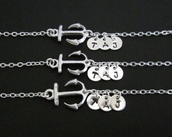 THREE Silver Anchor Bracelet Set. Sterling Silver. 3 Initial Silver Discs. Forever Friends. Friendship.Three Sister Bracelet Set. 3 BFF