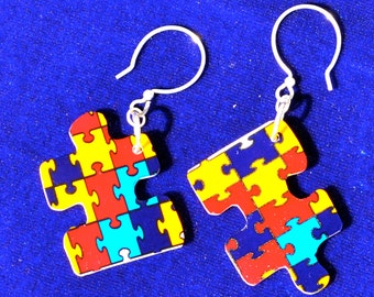 Puzzle Charm Earrings - Autism Awareness Shrinky Dinks-