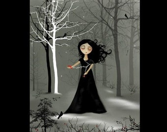 48 Hours - 50 Percent Off SALE -- Large Limited Edition Goth Girl Print - Night is Falling  -- 11 x 14