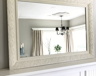 Ivory Shabby Chic Mirror, Leaning Mirror