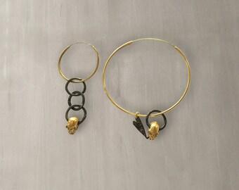Skull Hoop Earrings 24K Gold Plated Sterling Silver/Asymmetrical Hinged Hoops with Skulls/Gold Hoops – S013