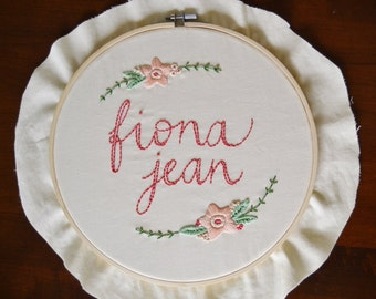 Custom Name Embroidery Hoop