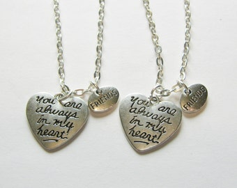 2 Friends You Are Always In My Heart BFF Necklaces