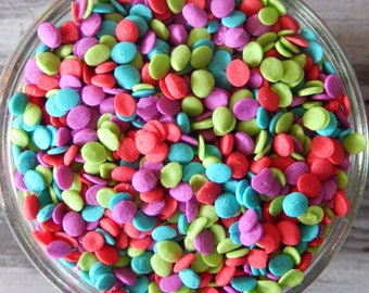 Sprinkles, 6 oz - Merry & Bright Sequins Edible Confetti Quins - For Cupcakes - Cookies - Ice Cream - Dipped Pretzels - Cake Pops - Cakes