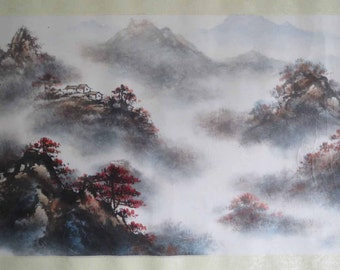 Original Chinese painting-Natural Scenery(Cloudy Mountain Scenery in Autumn)