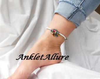 Anklet RHINESTONE Ankle Bracelet BEADED Bridal Shower Gift BLING Anklets for Women