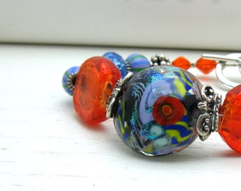 Red and Blue Bohochic Beaded Bracelet, Bold Boutique Wearable Art Luxe Statement Chunky Bracelet, For Her Under 300 US Free Shipping