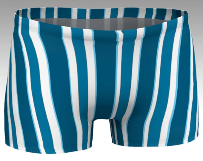 Dark Blue and White Striped Yoga Shorts, Vintage Striped Boy Shorts,  Women's Shorts, Swim Shorts, Athletic Shorts, Running Shorts